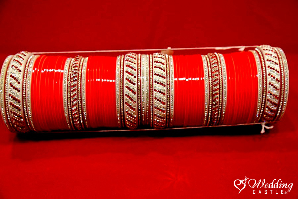 Wedding Chura(Bridal Bangles) - Sparkling Red Maroon